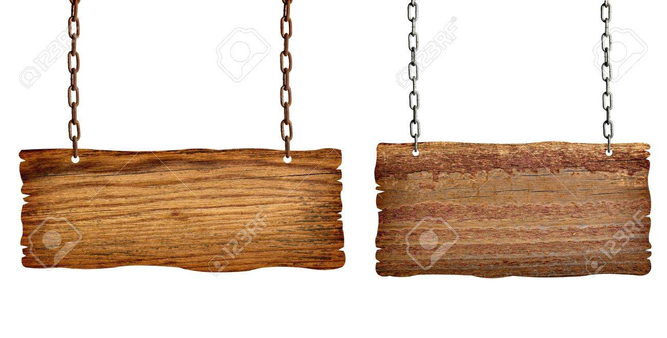 collection of  various wooden signs with chain on white background. each one is shot separately Stock Photo - 10046325