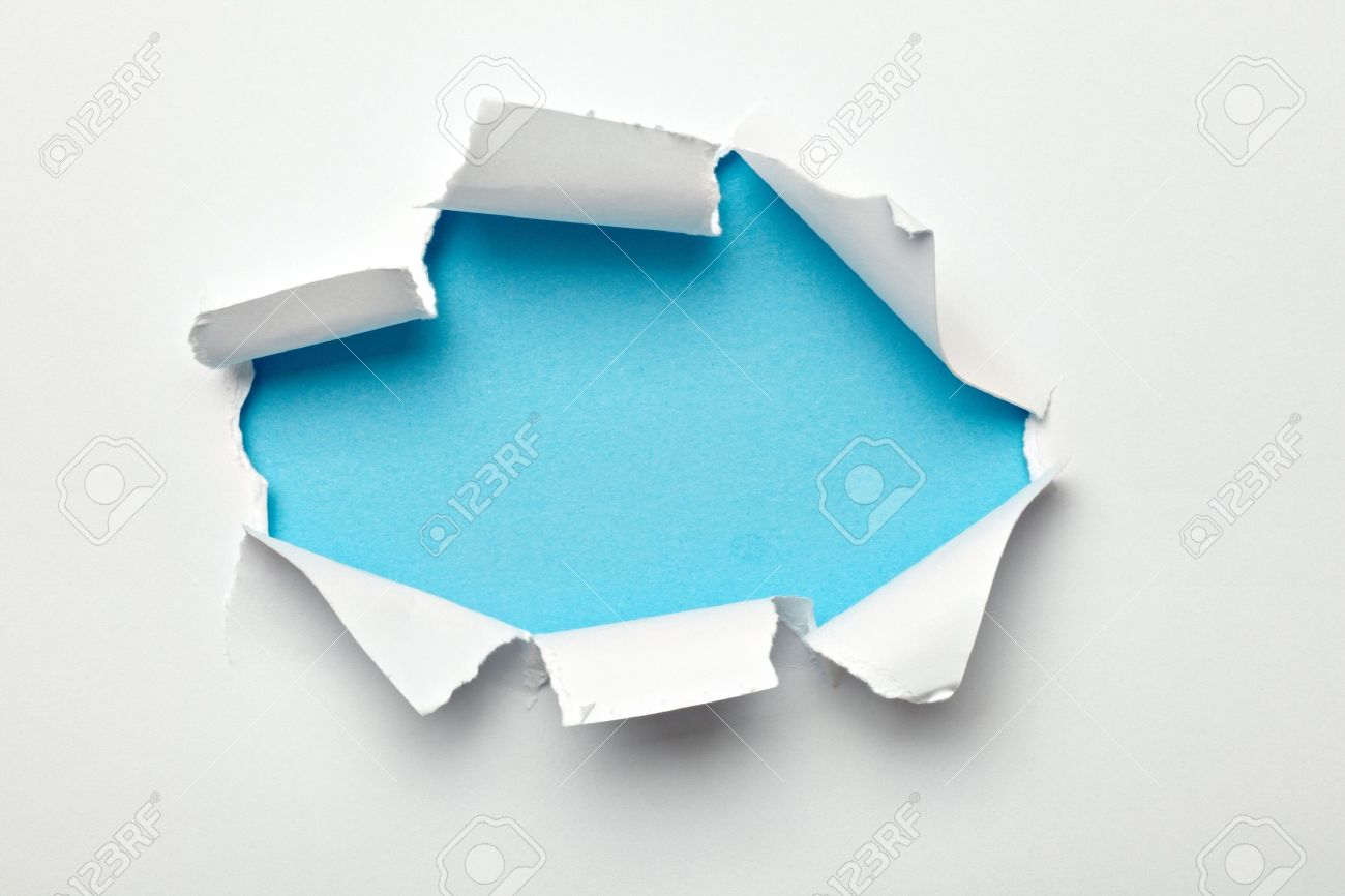 close up of  a ripped paper hole on white background Stock Photo - 10386046