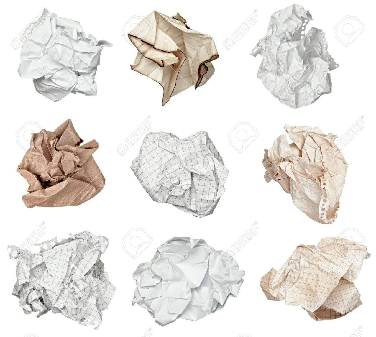 collection of various paper ball on white background. each one is shot separately Stock Photo - 10511439