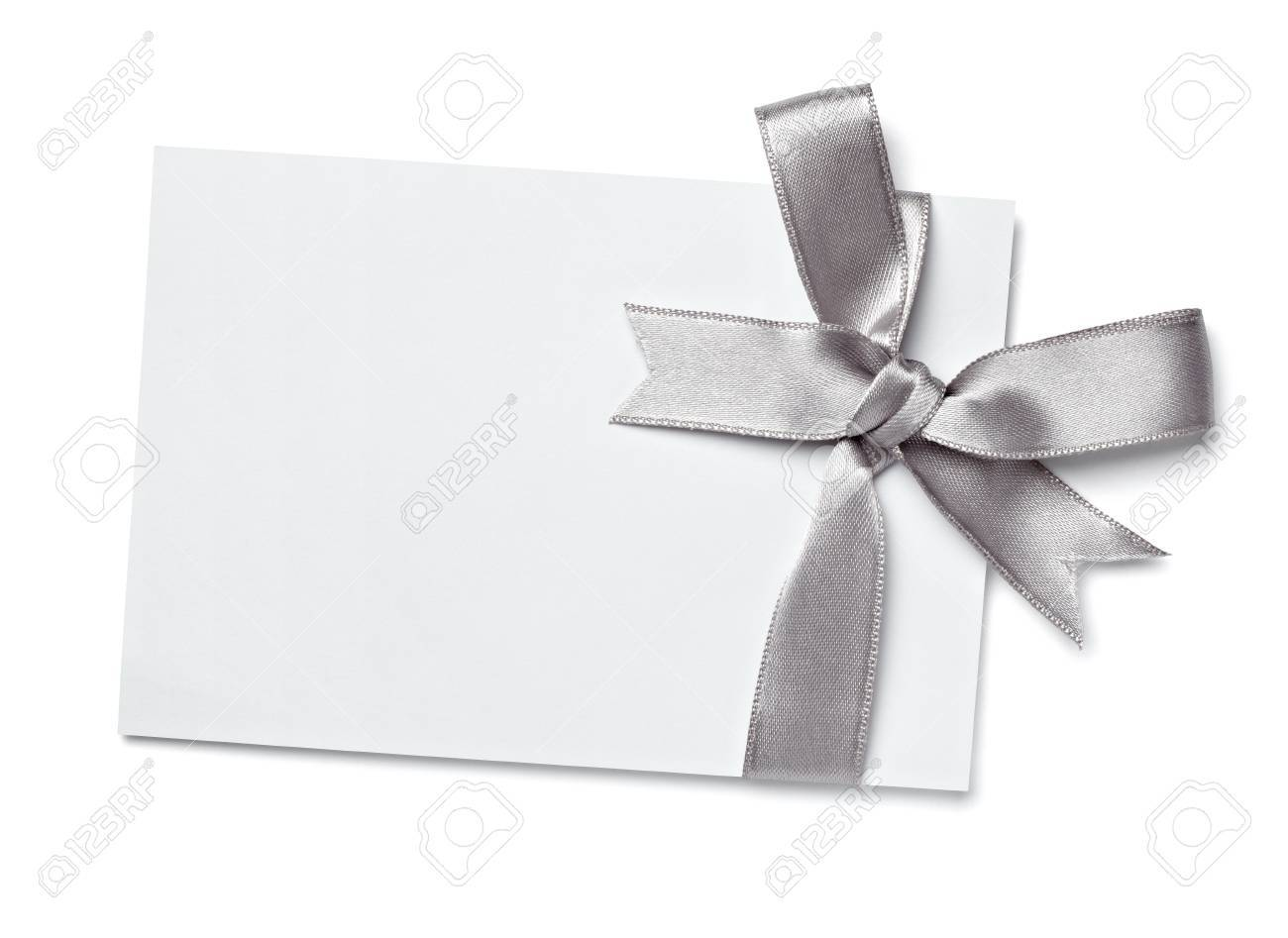 close up of  card note with  ribbon on white background Stock Photo - 10655292
