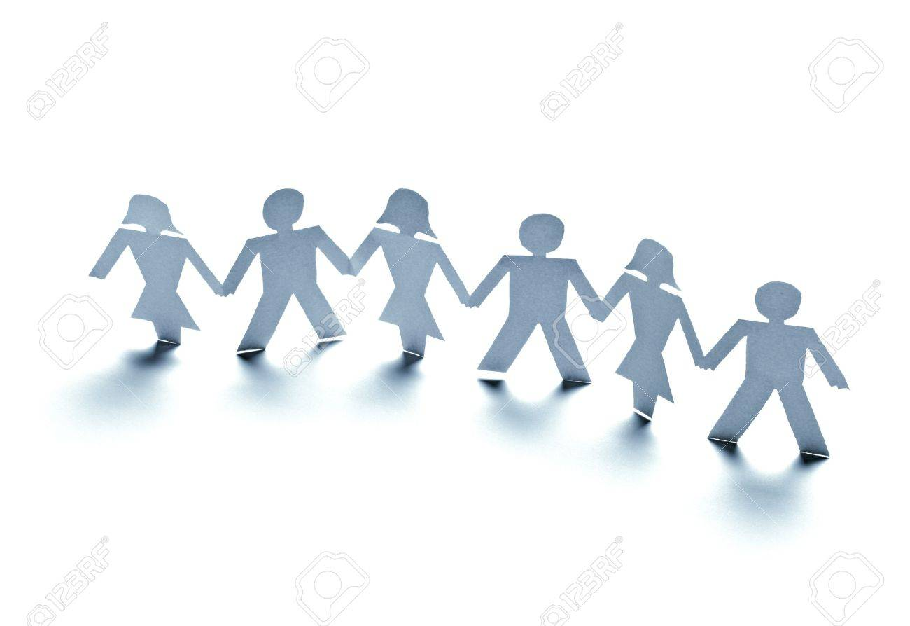 close up of  paper people on white background Stock Photo - 10722937