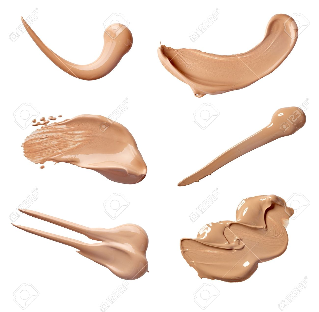 collection of various make up liquid powder strokes on white background. each one is shot separately Stock Photo - 11311465