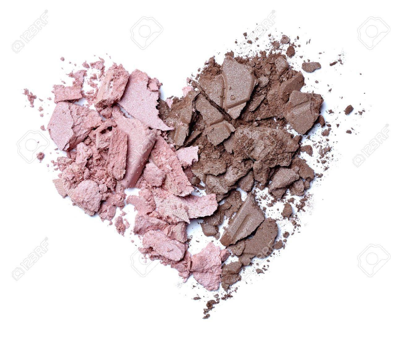 close up of face cream powder heart shape on white background Stock Photo - 12271181