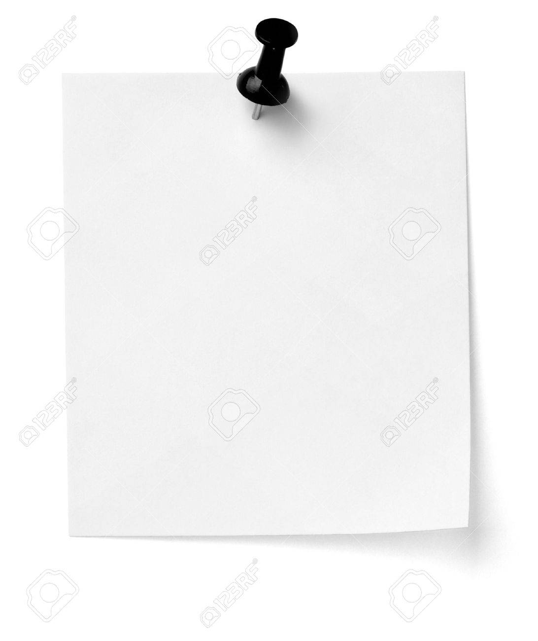 close up of a note paper with push pin on white background with clipping path Stock Photo - 12273342