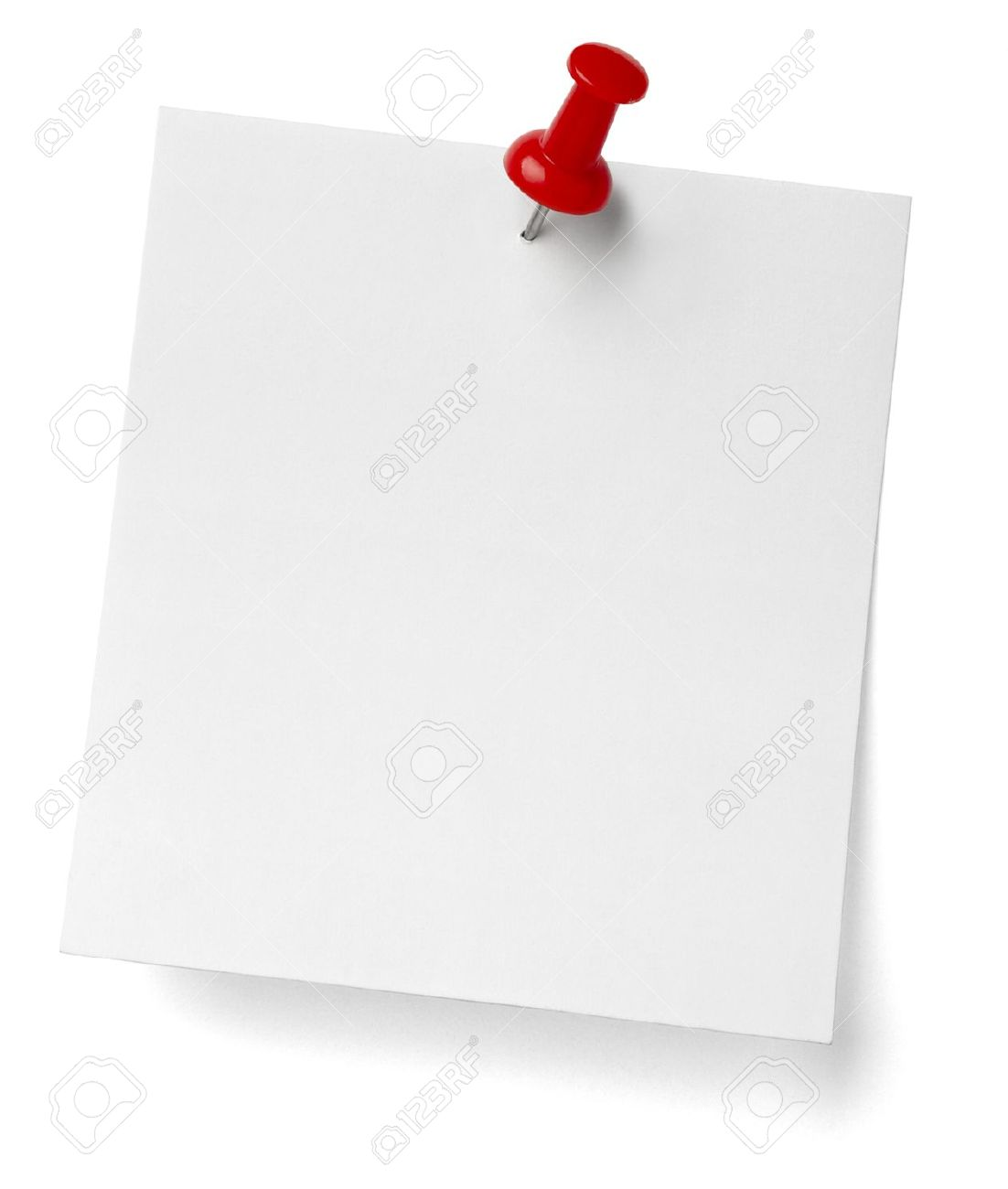 close up of a note paper with push pin on white background with clipping path Stock Photo - 12273338