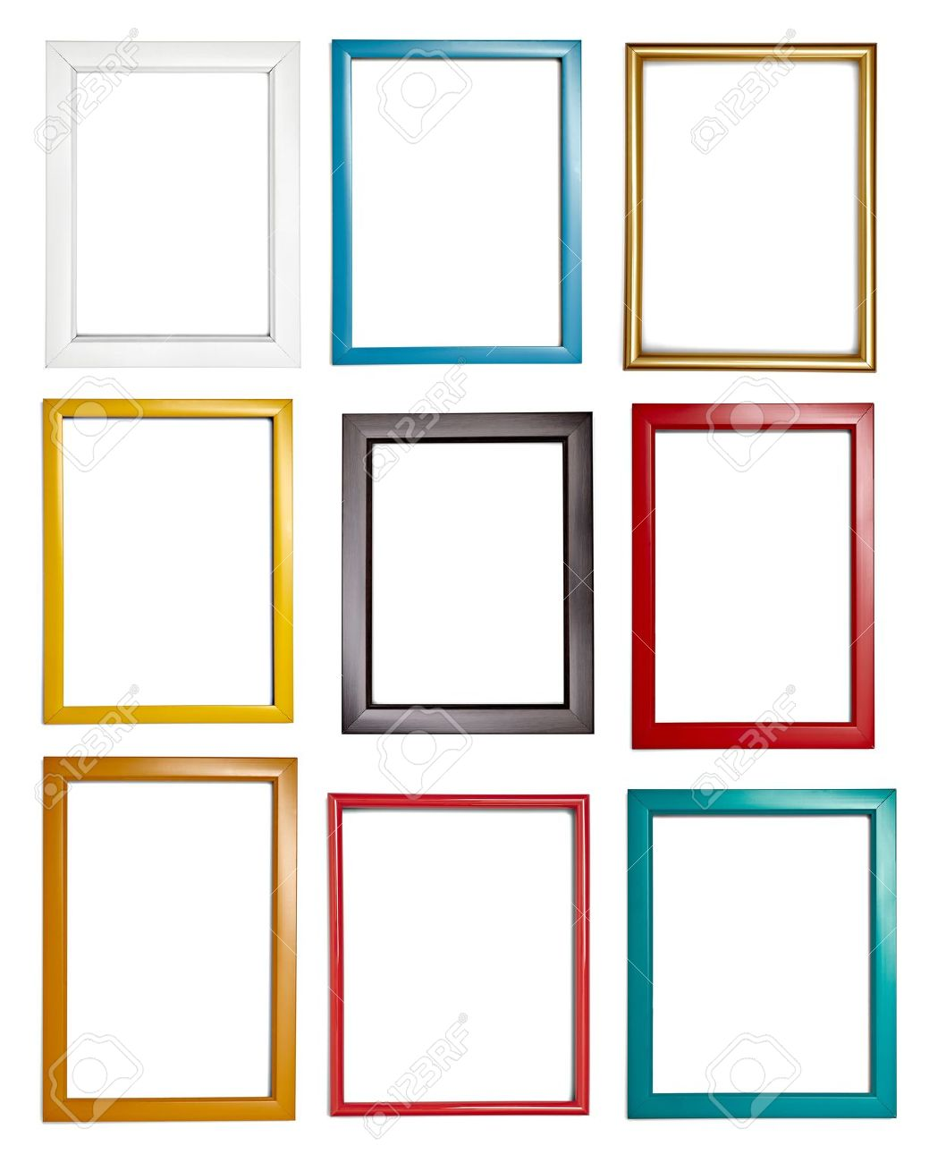 stock photo collection of various wooden frames for painting or picture on white background each one is shot separately