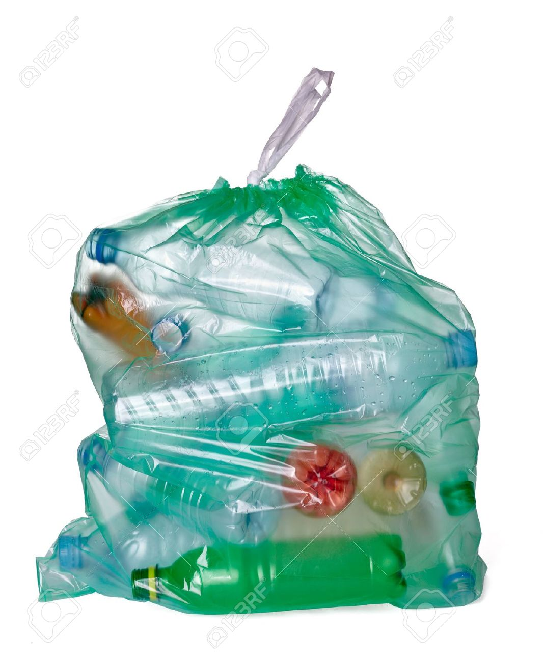 close up of a garbage bag with empty plastic bottles on white background Stock Photo - 12933485