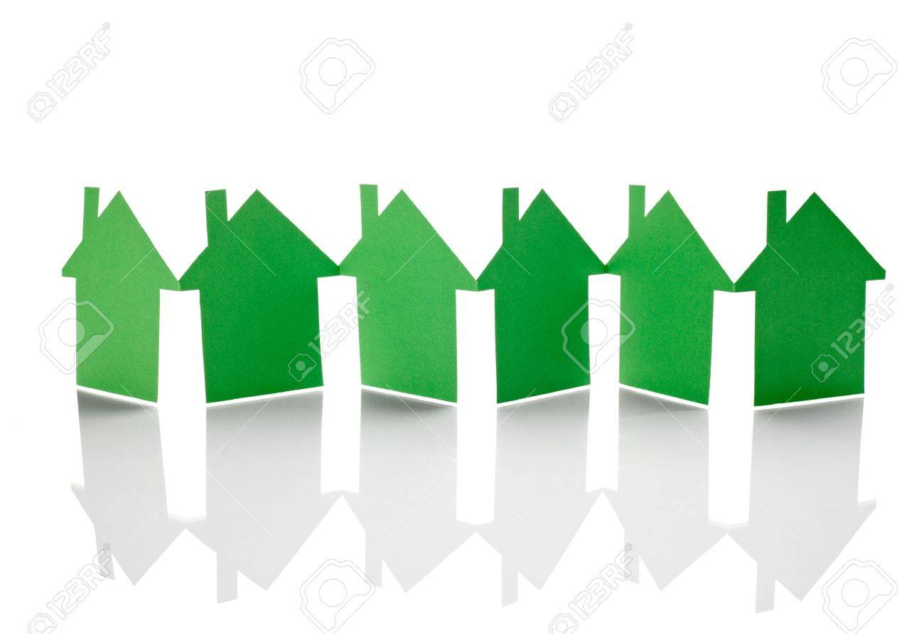 close up of  paper houses on white background Stock Photo - 13053740