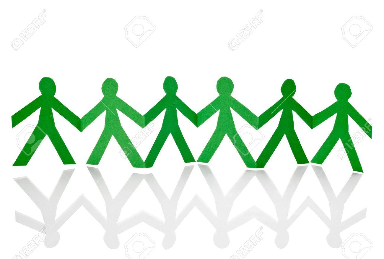 closeup of chain of paper people cut on white background Stock Photo - 13410307