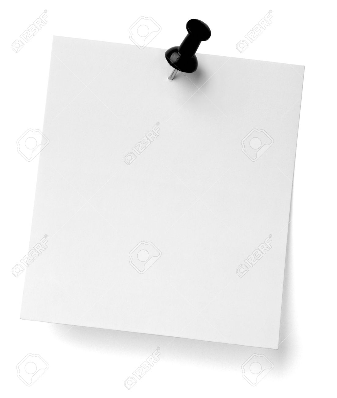 close up of a note paper with push pin on white background Stock Photo - 13410370