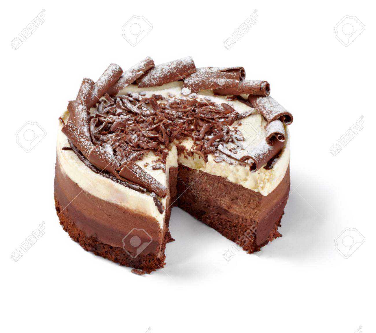 close up of a chocolate cream cake on white plate Stock Photo - 13553876