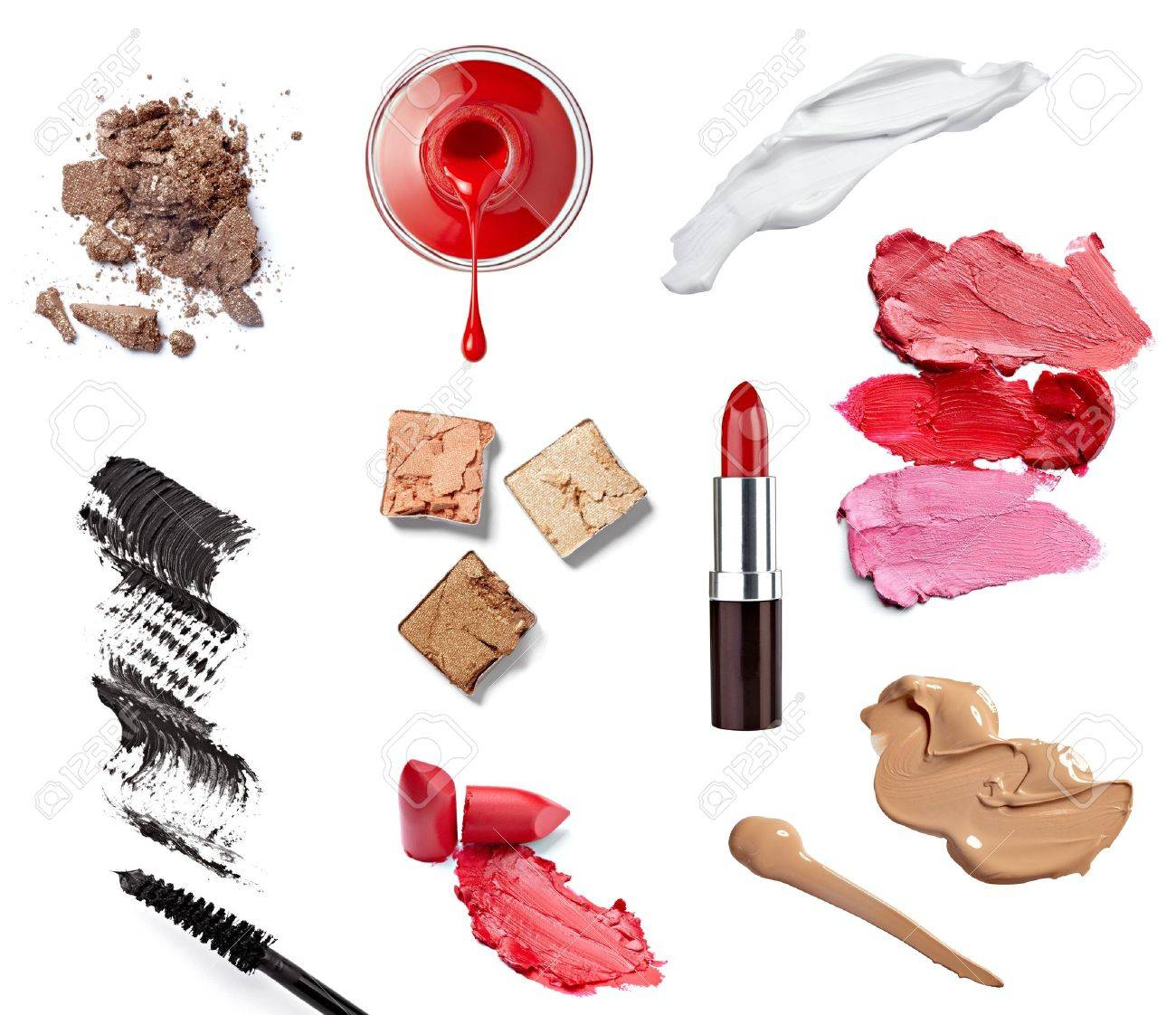 collection of  various make up accessories on white background  each one is shot separately Stock Photo - 13751757