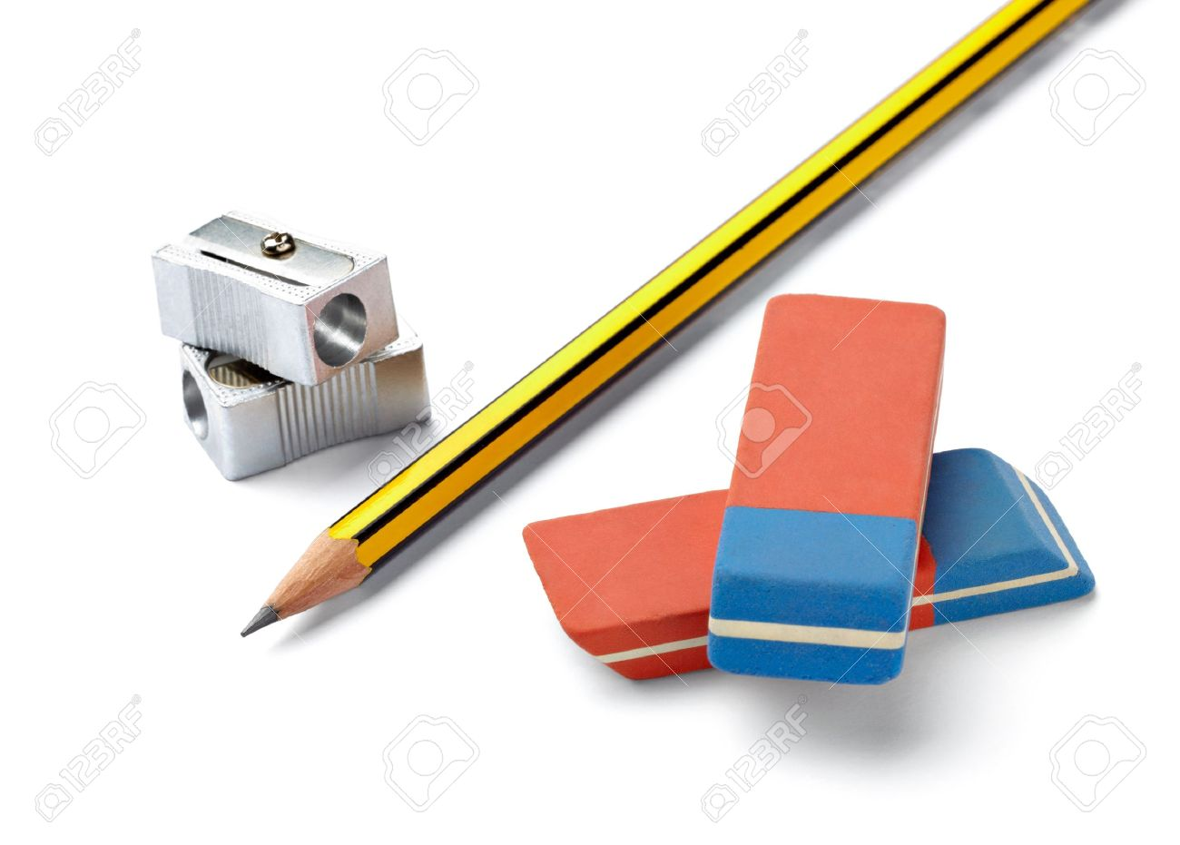 close up of  pencil, eraser and sharpener on white background with clipping path Stock Photo - 14359074