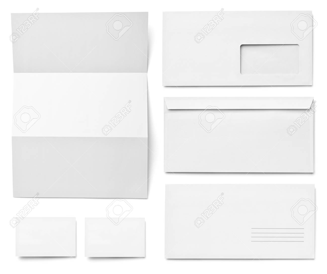 collection of various  blank white paper on white background. each one is shot separately Stock Photo - 15303108