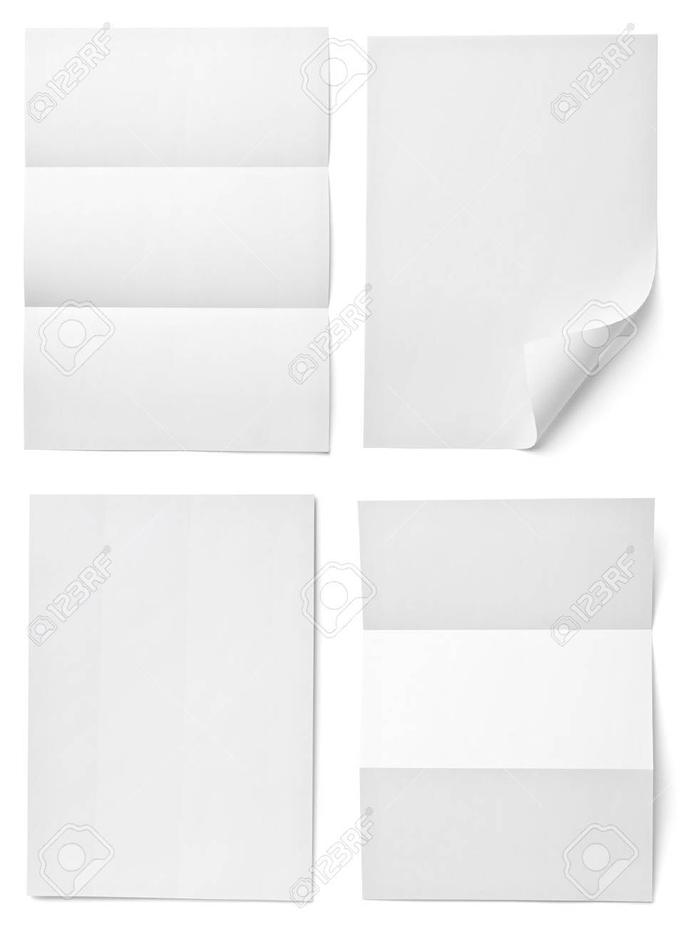 collection of various  blank white paper on white background. each one is shot separately Stock Photo - 15303114