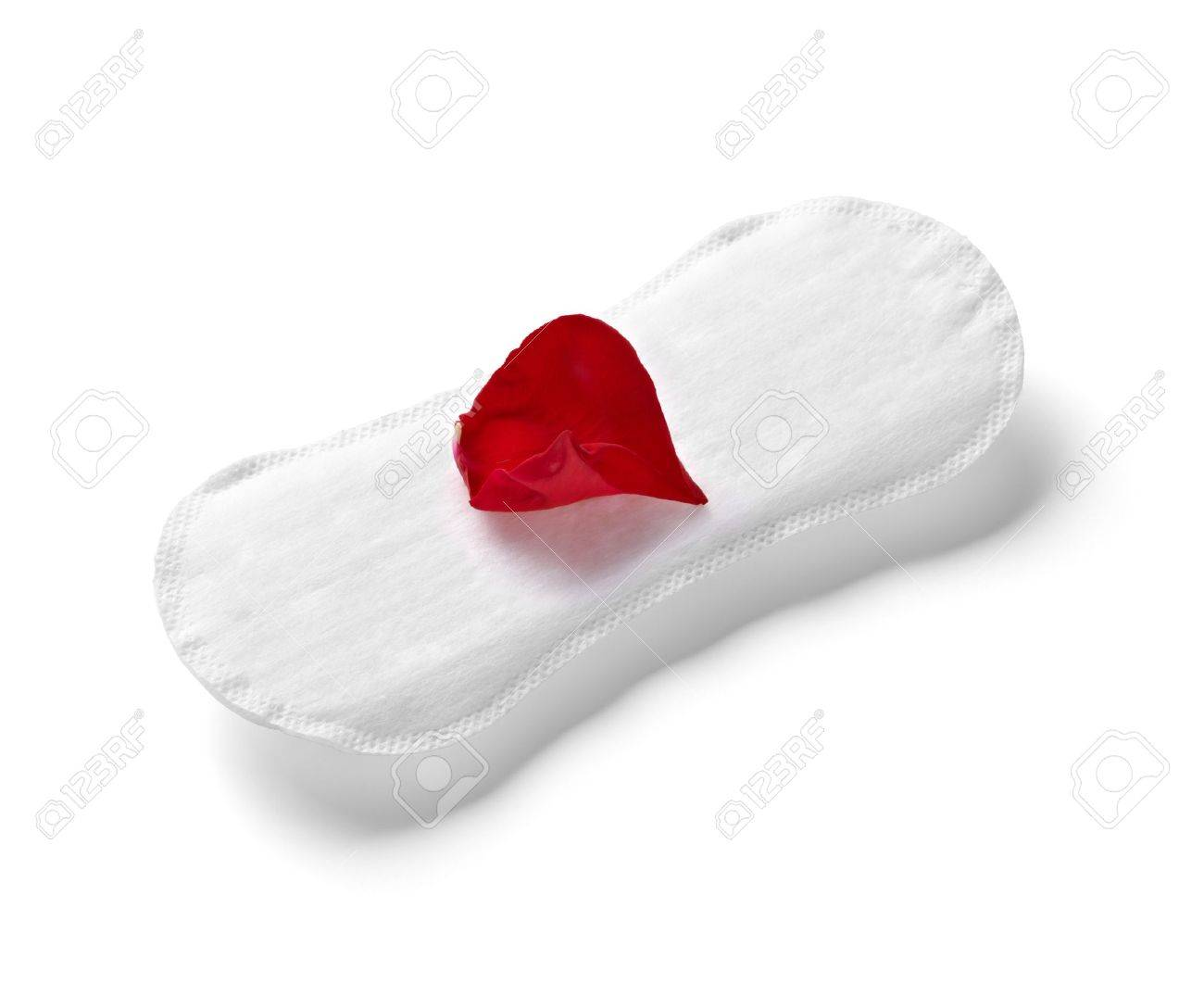 close up of woman hygiene protection and rose petals on white background Stock Photo - 15430898