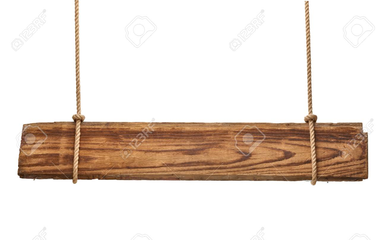 close up of an empty wooden sign hanging on a rope on white background Stock Photo - 16941877
