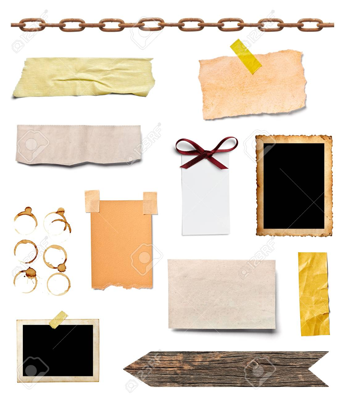 collection of various grunge paper pieces and oobjects on white background  each one is shot separately Stock Photo - 17681522