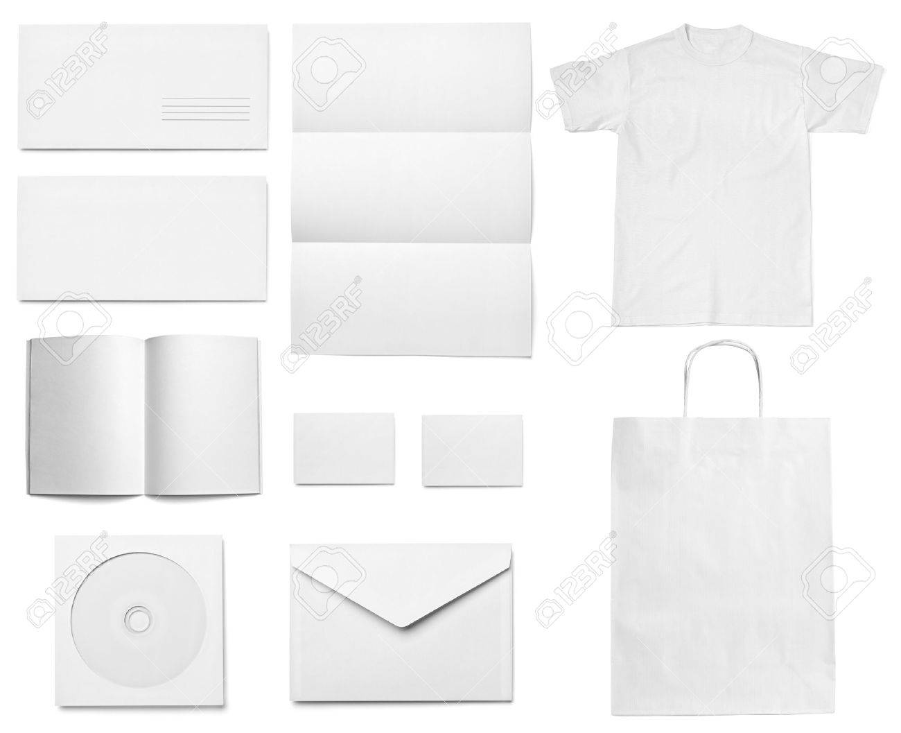 collection of various  blank white paper on white background. each one is shot separately Stock Photo - 18282247