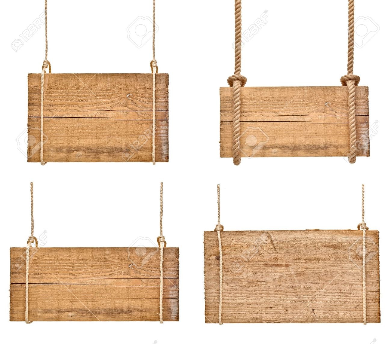 collection of various empty wooden signs hanging on a rope on white background. each one is shot separately Stock Photo - 18282297