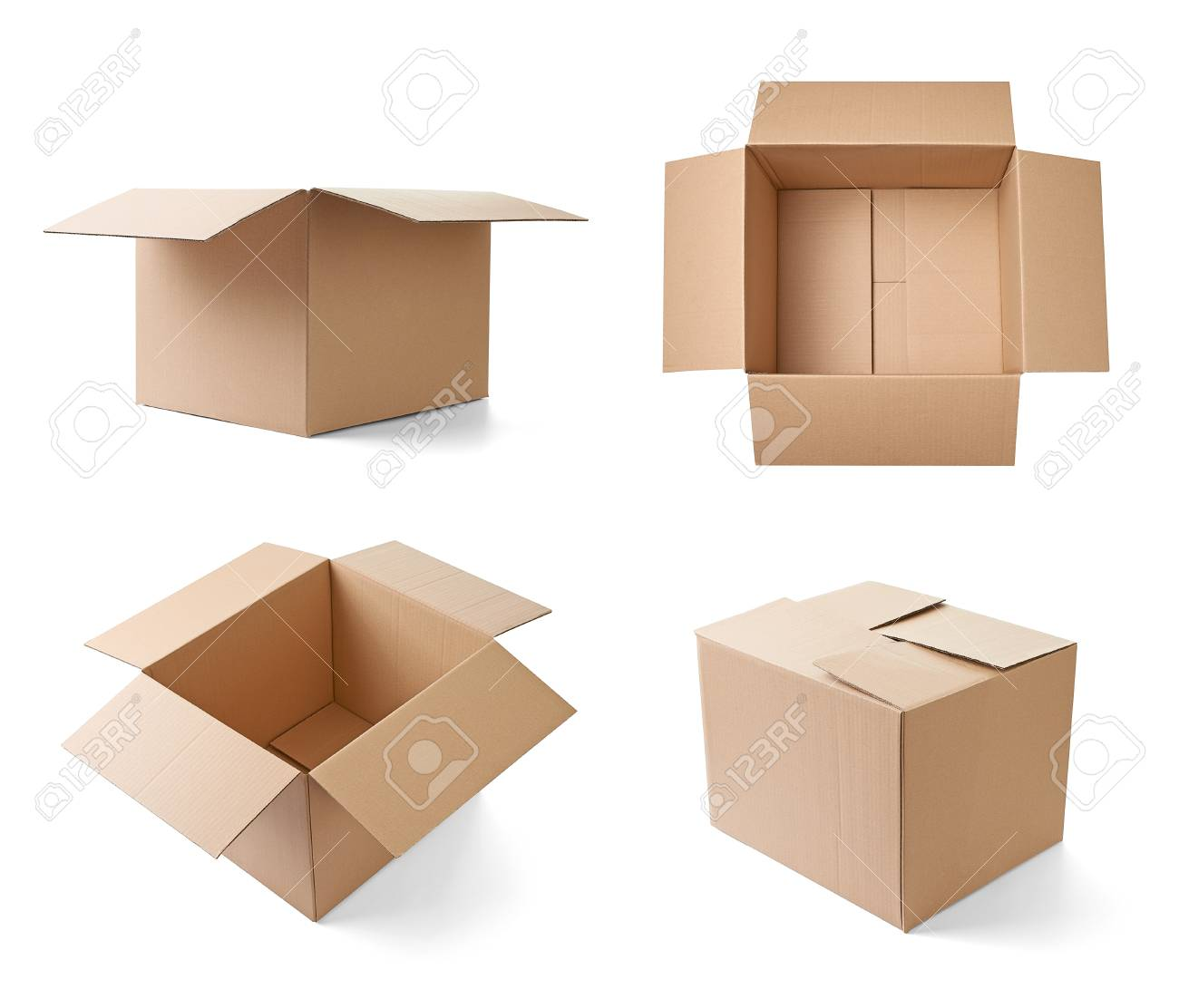 collection of various cardboard boxes on white background. each one is shot separately Stock Photo - 19314128