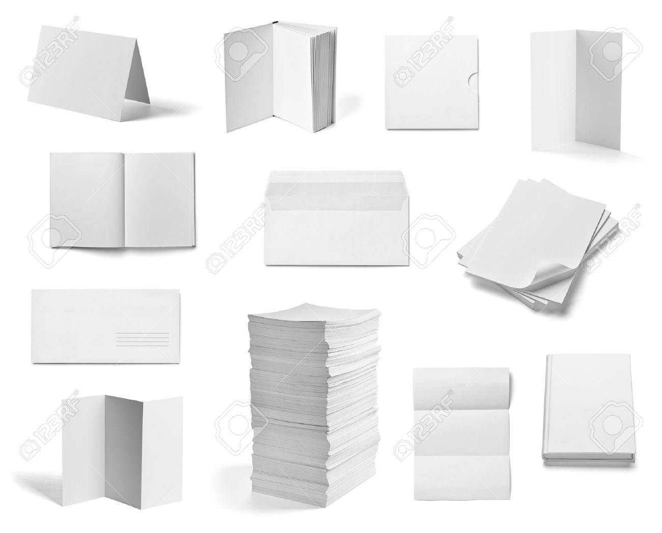 collection of various  blank white paper and book on white background  each one is shot separately Stock Photo - 19607010