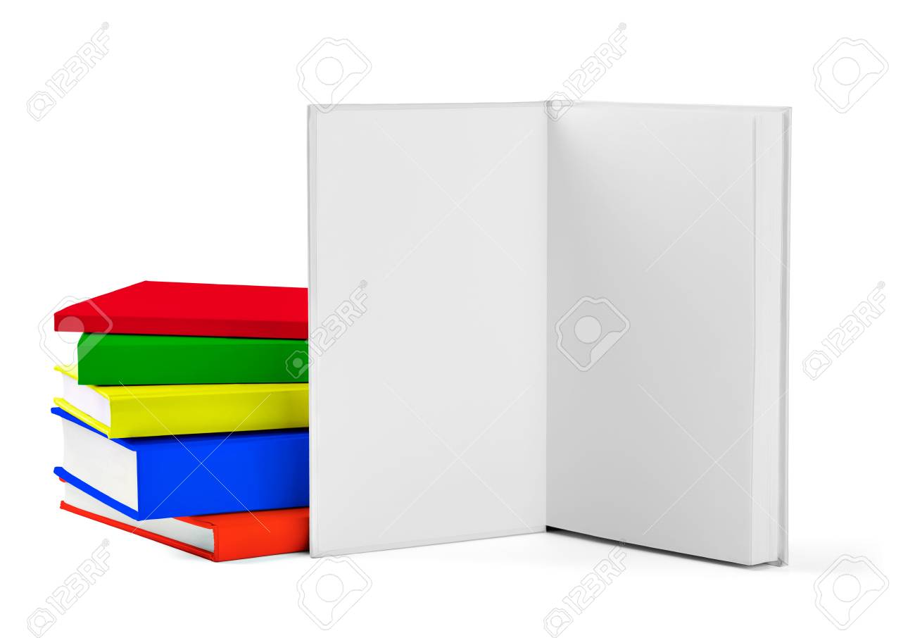 collection of various  colorful  books on white background with clipping path Stock Photo - 19836374