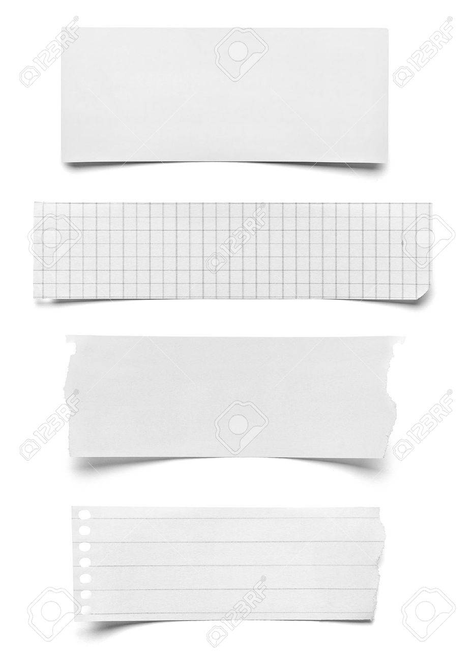 Collection Of Various Pieces Of Note Paper On White Background Each One Is  Shot Separately Stock  Collection Note