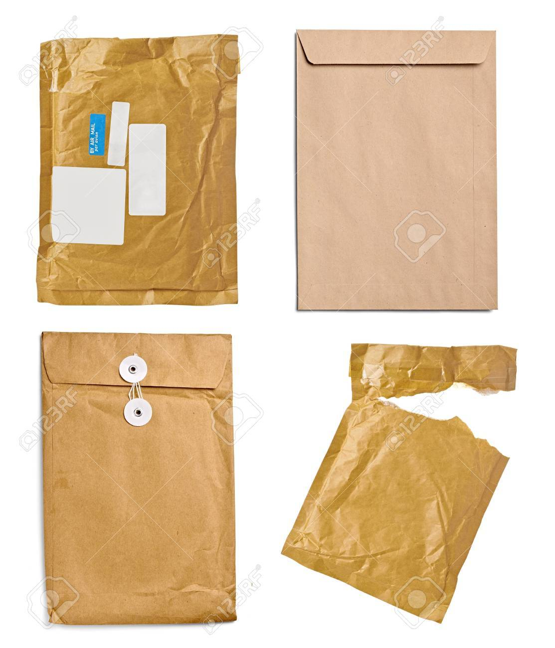 collection of various used open mail package on white background  each one is shot separately Stock Photo - 21338042