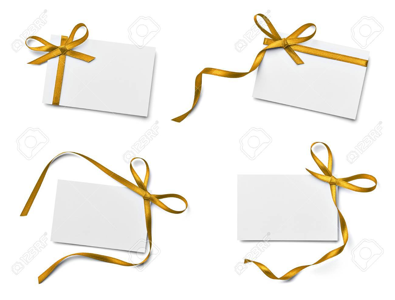 collection of various note card with ribbon bow on white background. each one is shot separately Stock Photo - 21809519
