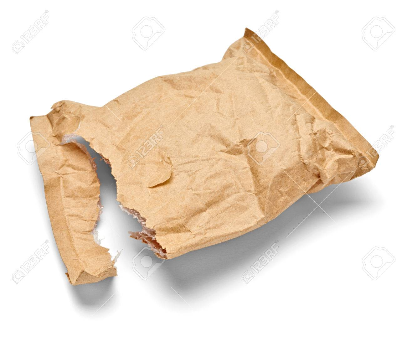 Close Up Of An Used Open Mail Package On White Stock Photo ...
