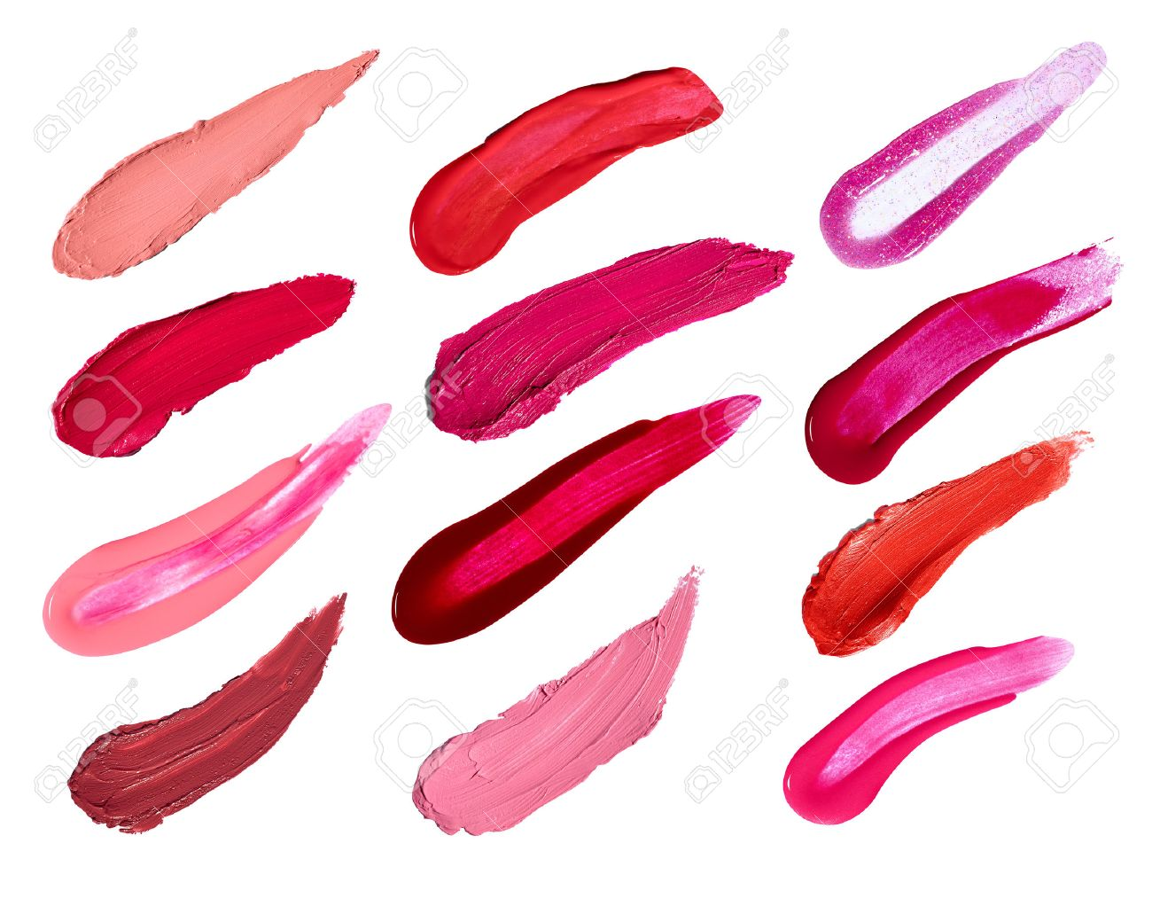 Collection Of Various Lipstick And Nail Polish Strokes On White ...