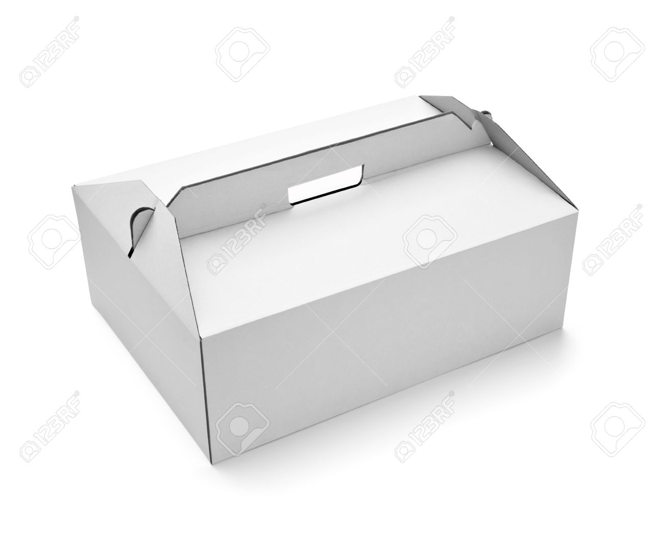 Close Up Of A White Cake Box Template On Background Stock Photo
