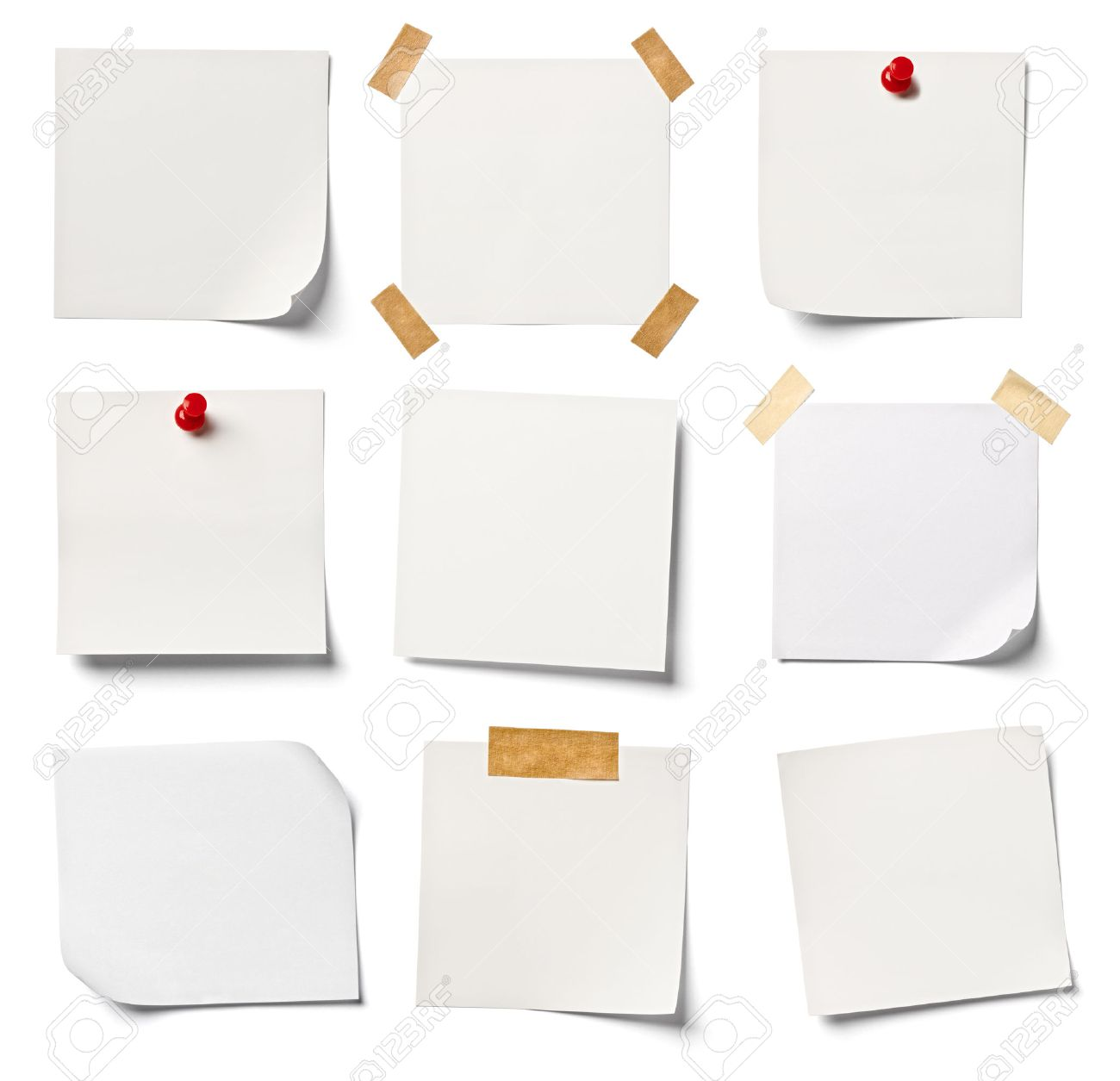 Collection Of Various White Note Papers On White Background – Collection Note