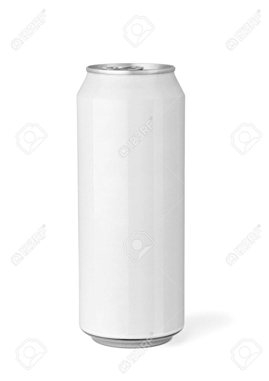 close up of a white beer can template on white background stock