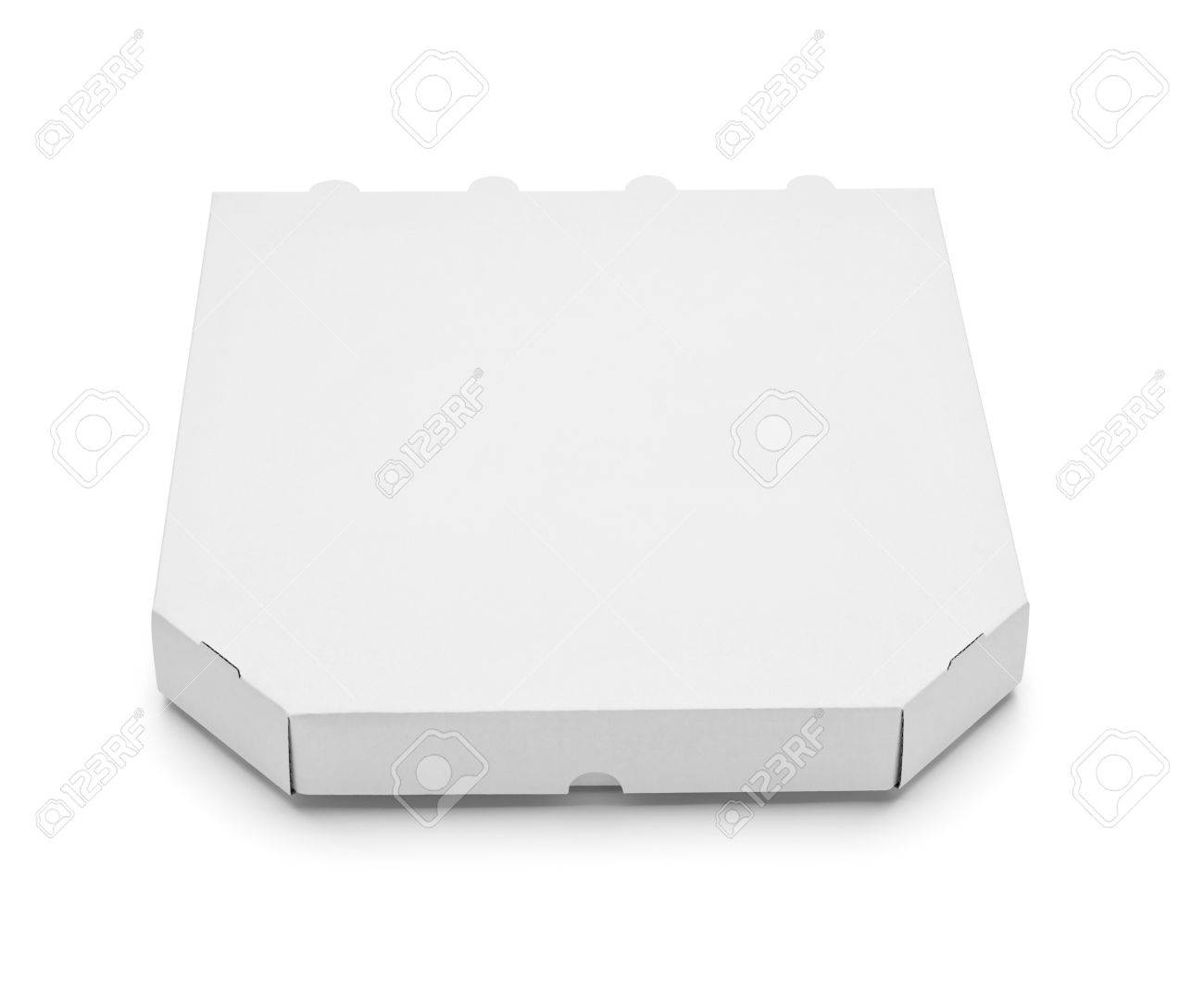 close up of a white pizza box template on white background stock