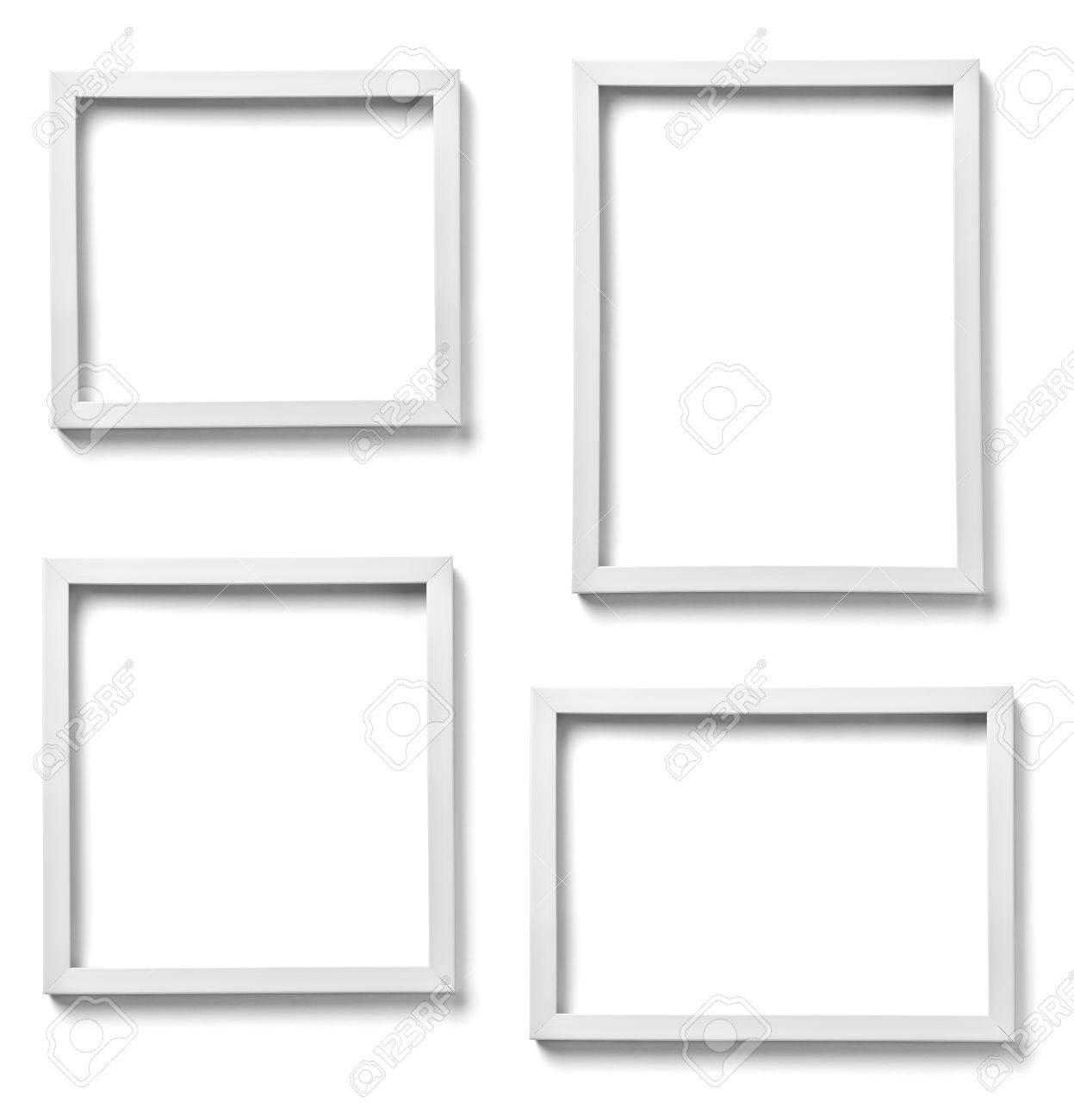 Colección De Varios Marcos De Madera De Color Blanco Sobre Fondo ...