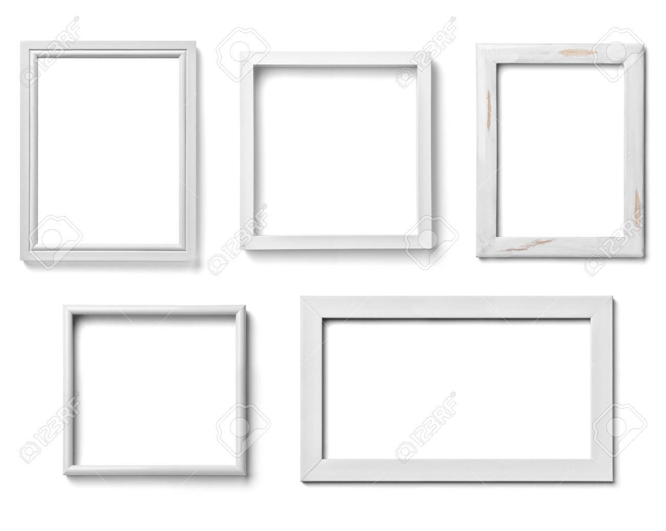 collection of various white wood frames on white background collection of various white wood frames on - White Picture Frames