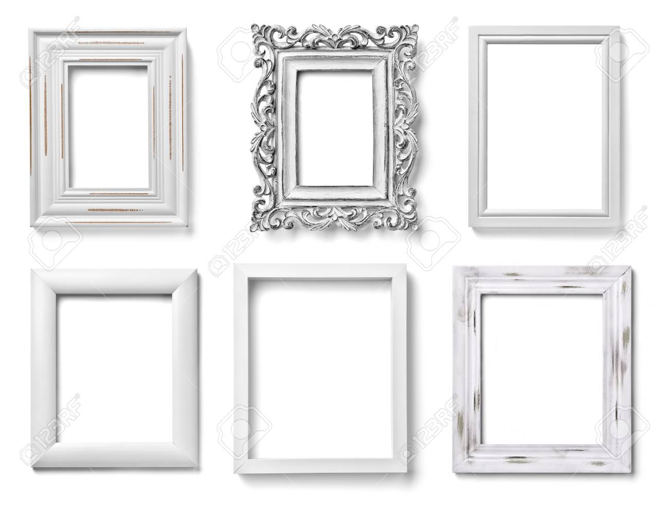 Collection Of Various White Wood Frames On White Background... Stock ...