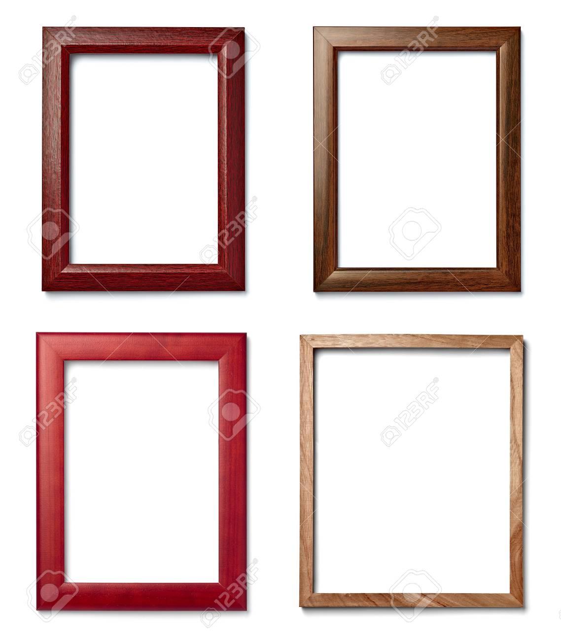Sammlung Von Verschiedenen Vintage-Holz-Rahmen Auf Weißem ...