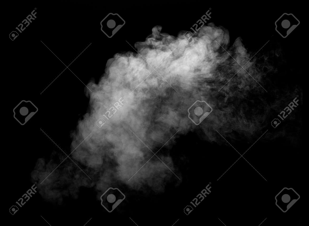 close up of steam smoke on black background - 121359884