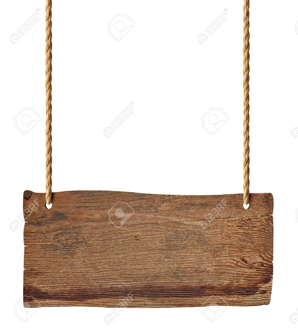 wooden blank sign hanging with chain and rope on white background - 125777386