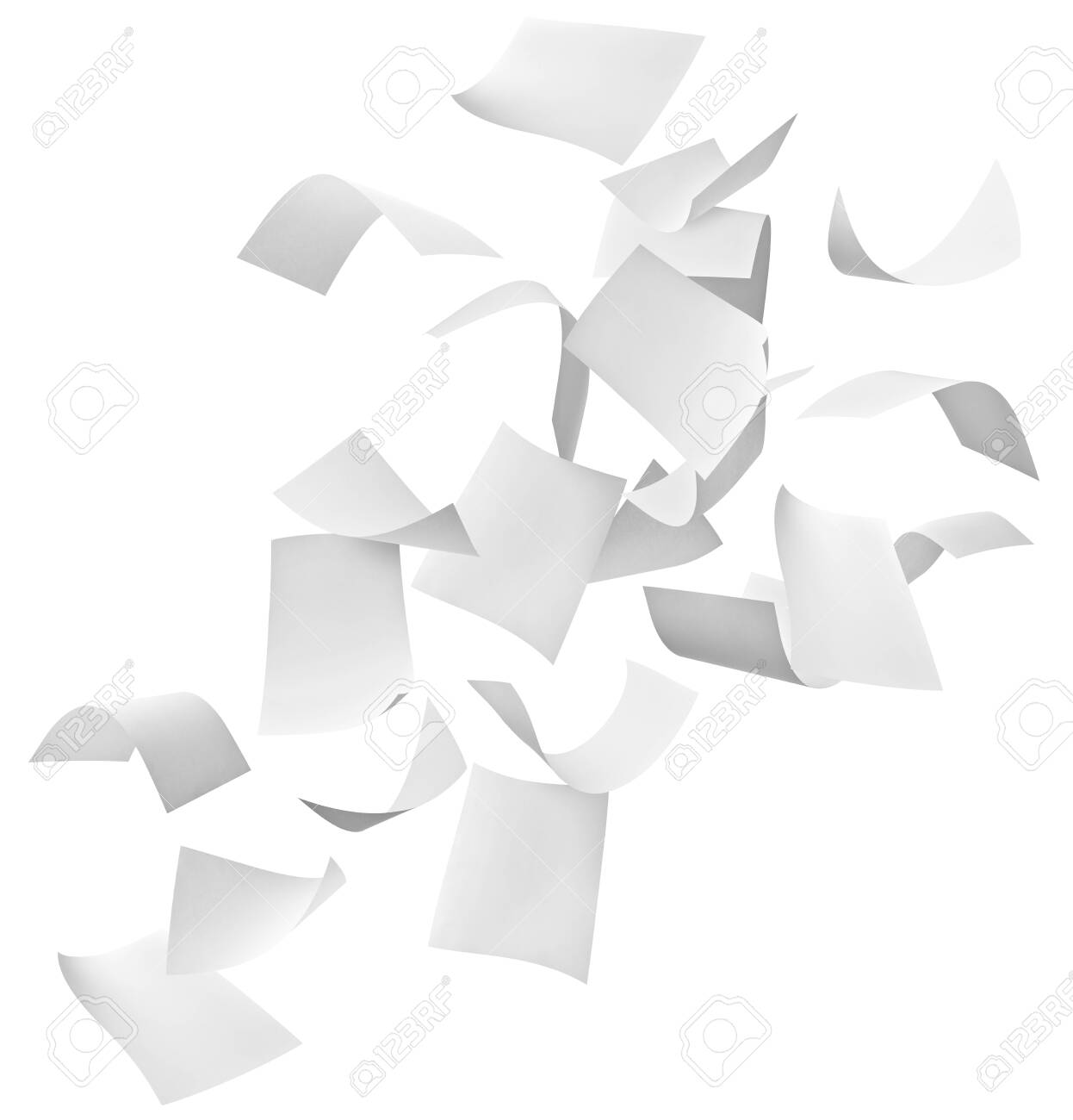 close up of flying papers on white background - 129879880