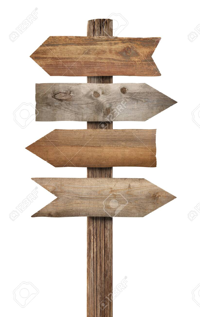 close up of a wooden sign on white background - 131831234