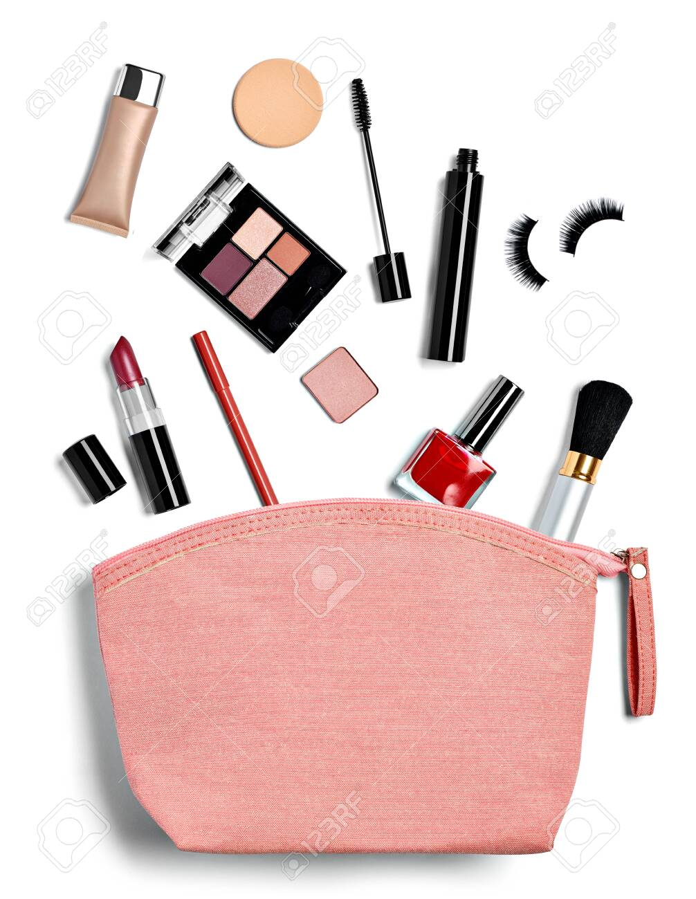 close up of a vanity case full of make up on white background - 138390900