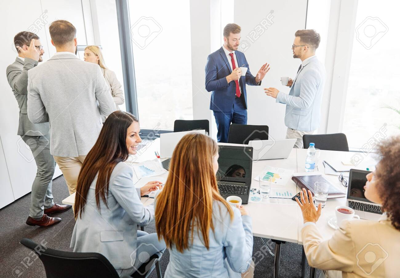 Group of young business people having a meeting in the office - 140737893