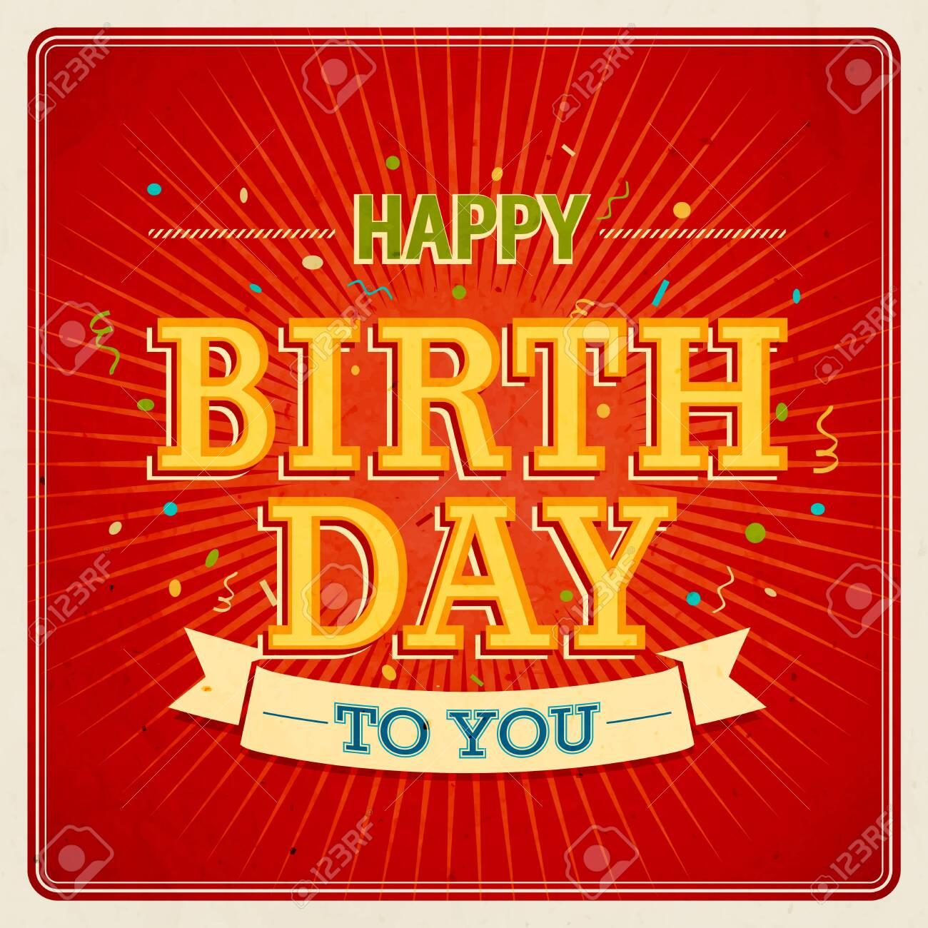 Vintage card - Happy birthday. Vector illustration. - 26935165