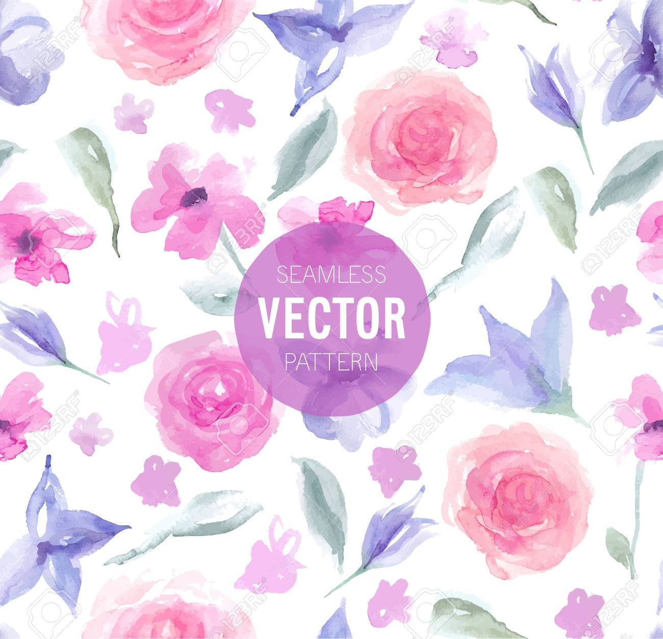 Watercolor rose seamless pattern. Vector illustration. - 39681968