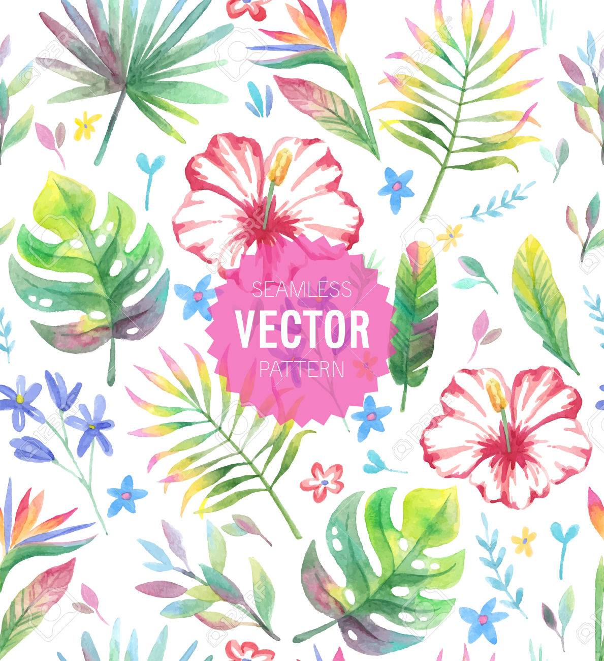Watercolor tropical seamless pattern. Vector illustration. - 39681975