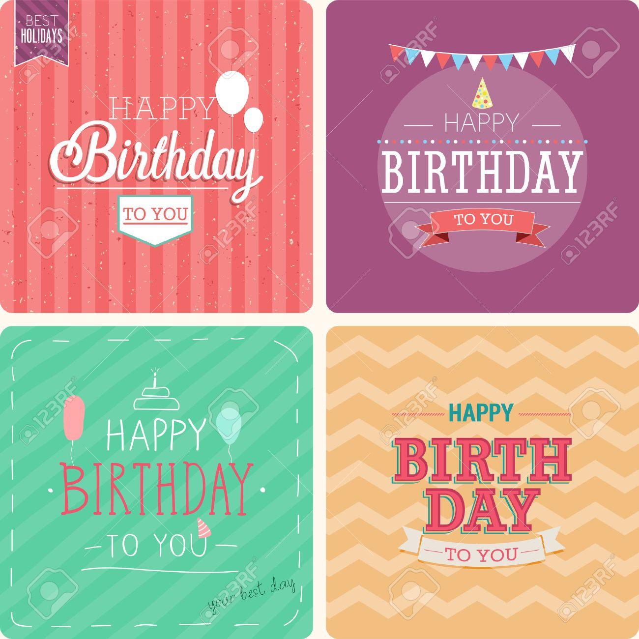 Vintage card - Happy birthday set. Vector illustration. - 41543516